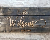 Pallet Sign, Custom Last Name Sign, Established Wooden Sign, Laser Cut Sign, Custom Wedding Gift, Personalized Last Name Rustic Sign