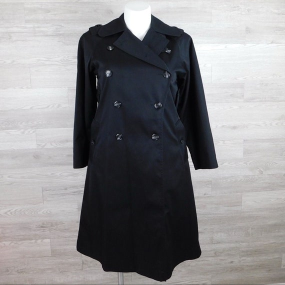 Vintage Black Double Breasted Trench Coat