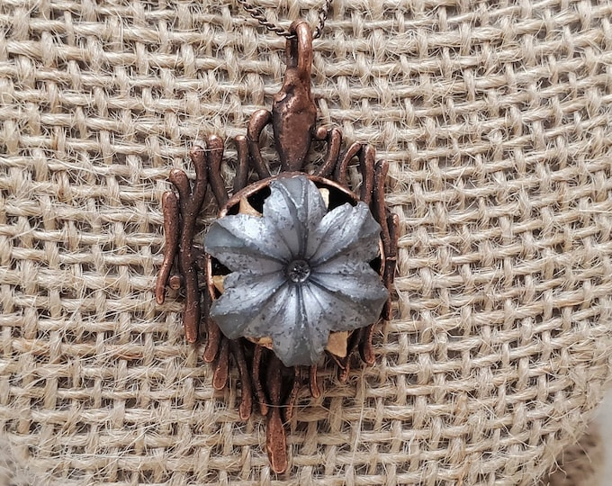 9mm Blooming Bullet In Melted Copper Pendant With Nickle Free Aged Copper Patina Necklace