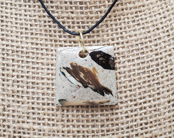 Woolly Mammoth Ivory & Bark Pendant Necklace