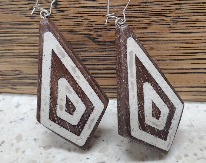 Peruvian Walnut Earrings With Woolly Mammoth Ivory Inlay