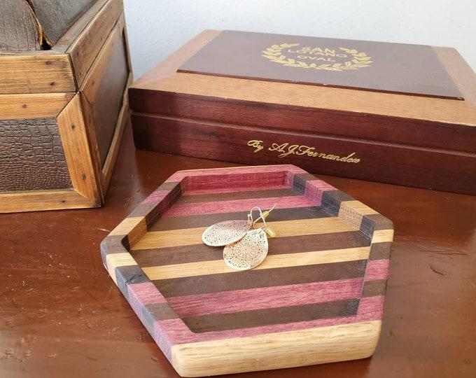 Handmade Multi Wood Hexagon Jewelry Tray