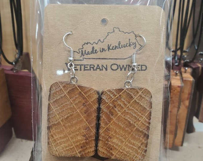 100 Year Old Bourbon Barrel Stave Earrings, Birthday, Anniversary Gift