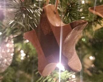 Set of 3 Multi-wood Handmade Rustic Star Ornaments