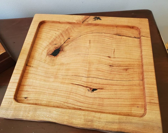 Live Edge Figured Cherry Wood Tray