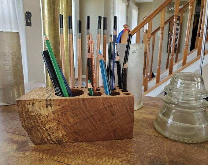 Live Edge Old Growth 16 Hole Wood Desk Organizer, 5th Anniversary, Rustic Office Decor