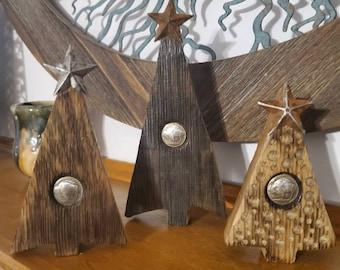 Set of 3 Rustic Handmade Bourbon Barrel & Buffalo Nickel Conch  Christmas Tree With Metal Stars