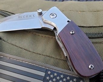 Restored CRKT Stubby Folding Razel Knife with Vintage Micarta Scales