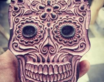 Carved Purple Heart Wood Sugar Skull