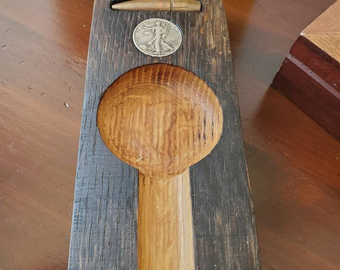 Antique Bourbon Barrel Stave Cigar Ashtray With Inlaid. 50 cal Round and Liberty Walking Dollar