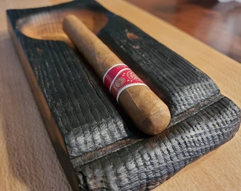 Hand Carved Medium Kentucky Bourbon Barrel Stave Cigar Ashtray (Cigar not included)