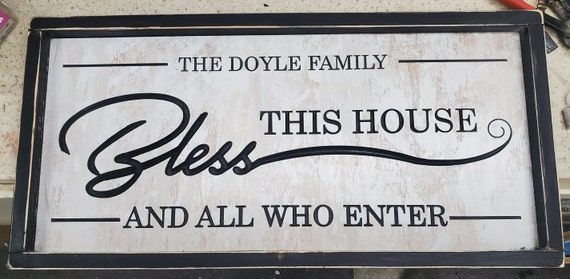 Custom Family Name Bless This House Wood Carved Hand Painted Rustic Farmhouse Framed Sign