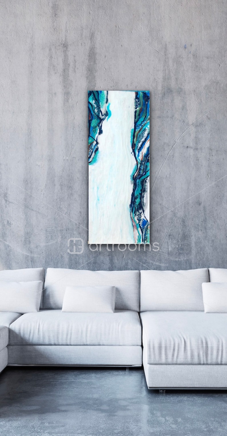 Home Decor Wall Decor. Home Accents Resin crystals white Unique Spring Art blue blue and black with real pearls Geode Painting