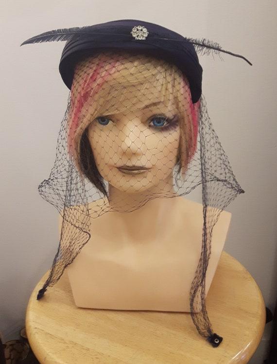 50s velvet/feather ,veiled cocktail hat