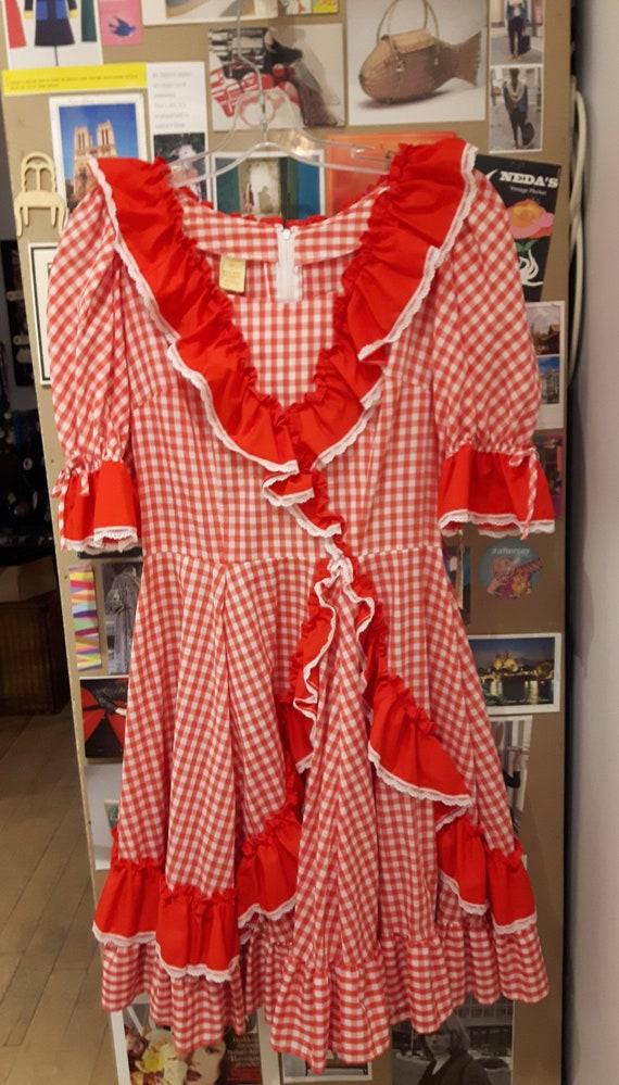 Vintage gingham squaredance dress