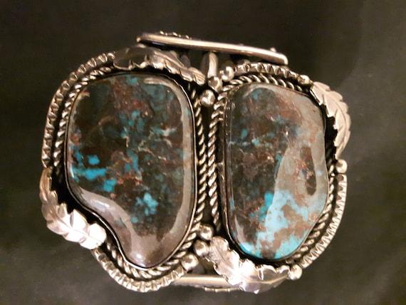 Silver/matrix/turquoise Native American Artisan cu