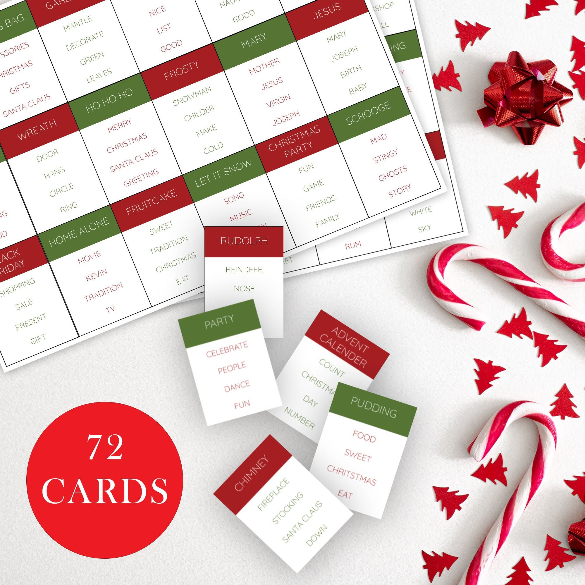 Christmas Taboo Game Christmas Games Printable Christmas Etsy