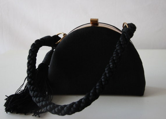 Black Structured (1950s) Evening bag with gold har