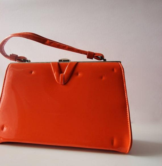 ORANGE Patent Vintage Handbag 1960s/ 70s
