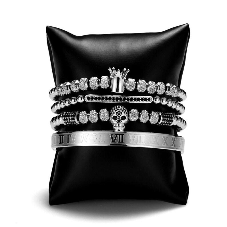 Micro Pave CZ Ball Crown Stainless Steel Gold Roman Number Titanium Braided Adjustable Bracelets 4pcSet 2021 Luxury Men/'s Bracelets Set