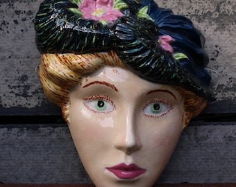 Vintage, Ceramic, Female Face, Woman in Hat, Artist Piece, Signed , Studio Art. Wall Hanging,  Pottery Mask, 2002,