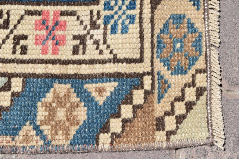 VINTAGE MINI RUG,Turkish Mini Rug,Bath Rug,Turkey Small Rug,Wool Doormates,Handmade Mini Rug,Small Gift Rug,Small Rugs,1/'9x3/'2 ft,409-M,