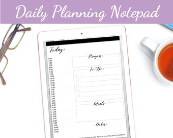 Daily Planning Notepad Goodnotes Digital Planner Insert PDF Faith Journal Hourly Annotate Scripture