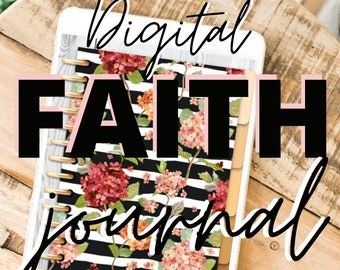 Digital Faith Journal Floral Print Notebook Goodnotes Planning Christian Religion Bible Verses