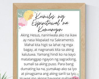 Act of Spiritual Communion Tagalog Filipino 8x10 Printable Wall Art 5x7 Catholic Home Decor Catholic Prayer Digital Print 11x14