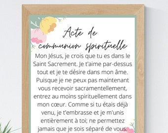 Act of Spiritual Communion French 8x10 Printable Wall Art 5x7 Catholic Home Decor Catholic Prayer Digital Print 11x14