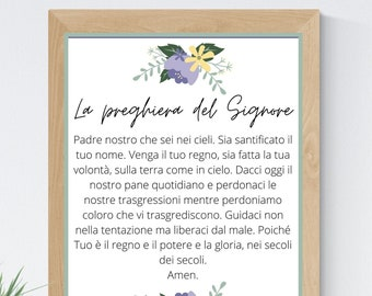 The Lord's Prayer Italian 8x10 Printable Wall Art 5x7 Religious Home Decor Christian Prayer Digital Print 11x14