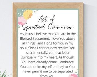Act of Spiritual Communion English 8x10 Printable Wall Art 5x7 Catholic Home Decor Catholic Prayer Digital Print 11x14