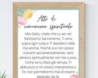 Act of Spiritual Communion Italian 8x10 Printable Wall Art 5x7 Catholic Home Decor Catholic Prayer Digital Print 11x14