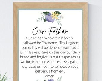 Our Father Catholic 8x10 Printable Wall Art 5x7 Religious Home Decor Christian Prayer Digital Print 11x14