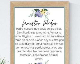 Our Father Catholic Spanish 8x10 Printable Wall Art 5x7 Religious Home Decor Christian Prayer Digital Print 11x14