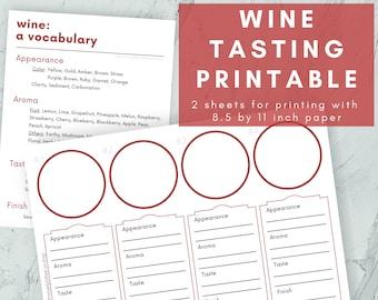 Printable Mat for Wine Tasting, Party Hosting
