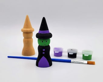 Crafts for Kids, Witch Peg Doll, Halloween Crafts, DIY Witch, Halloween Party Favors, Group Projects, DIY Halloween Crafts