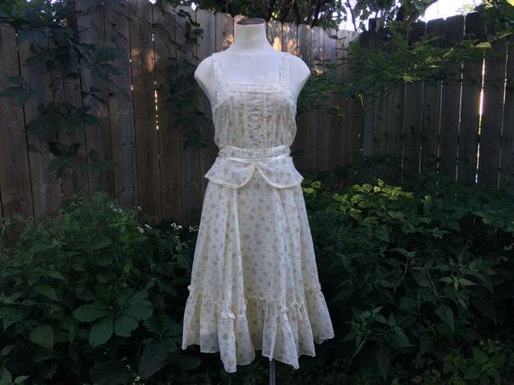Peplum Gunne Sax Dress, Vintage size 7 Midi, Cotta