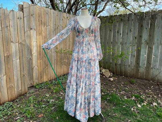 Patchwork Print Floaty 1970s Maxi Dress, Bishop's… - image 3