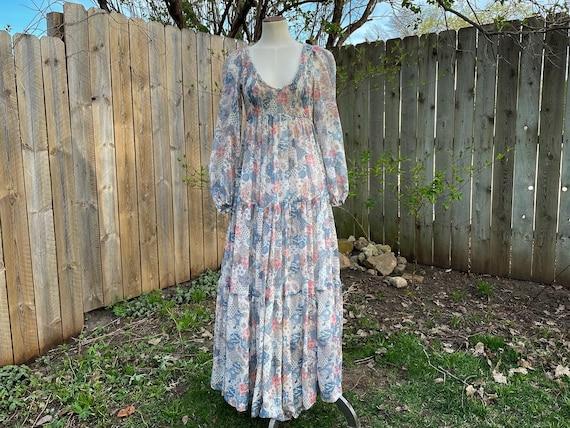 Patchwork Print Floaty 1970s Maxi Dress, Bishop's… - image 5