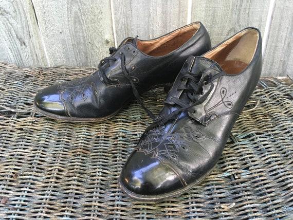 Vintage 1930s Shoes, Wilbur Coon, Black Oxfords, G