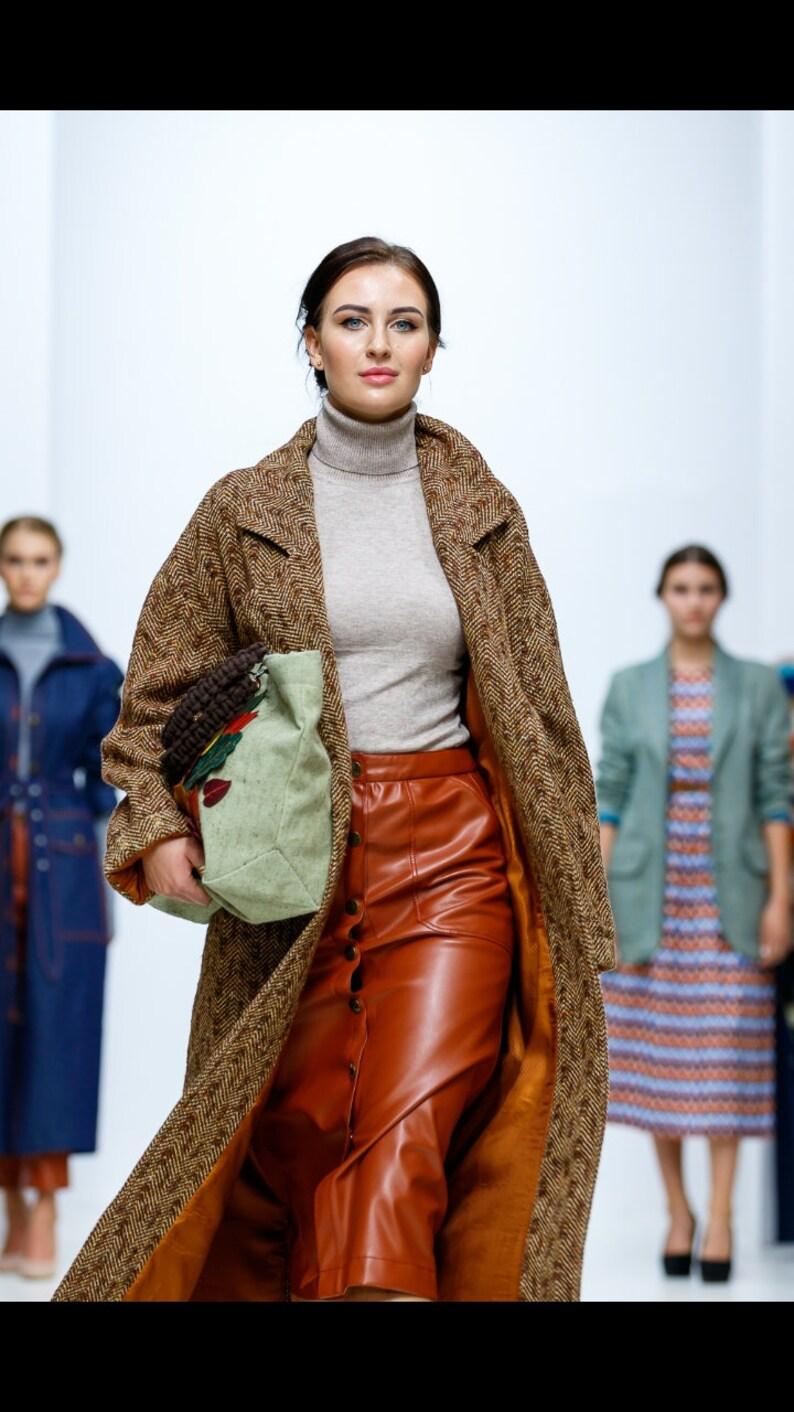 brown faux leather skirt brown midi skirt leather skirt Faux leather midi skirt