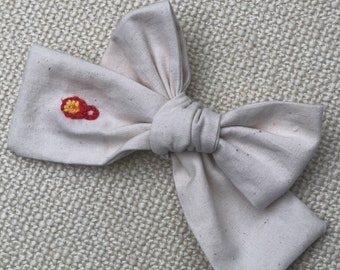 Organic cotton embroidered hair bow alligator clip toddler girl flowers designs heirloom