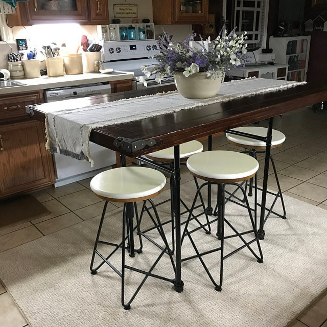 """Table legs 18""""H x 26-27""""W with crossbar 28""""L,Pipe Table Legs ,Industrial Iron Legs,Table Support,,Furniture legs,ndustrial Table Legs"""
