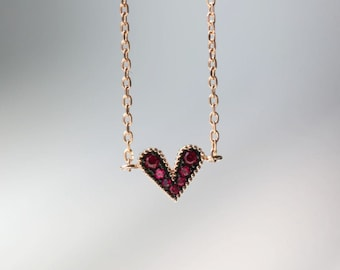 Lovely Heart  Ruby Solid 14 Gold  Daily Anklet