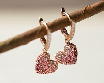 Lovely Pink Heart Charm 14k Solid Rose Gold Earrings Swarovsky Chrystal  Daily Earrings