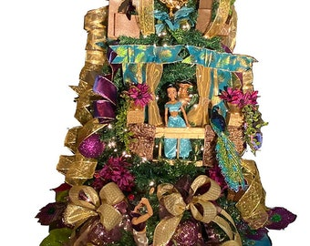 Princess Christmas Tree, Princess Jasmine Fully Decorated Christmas Tree  ready to display 6 ft Lighted fully decorated,