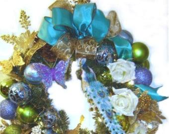 Royal Peacock Theme Christmas Wreath