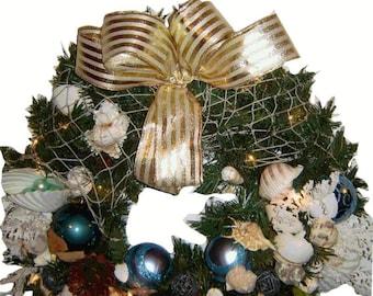 Nautical Seashell Christmas Wreath