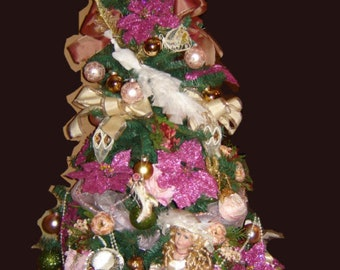 Victorian Christmas Tree in Pink 6ft Tall. Shipped Fully Decorated